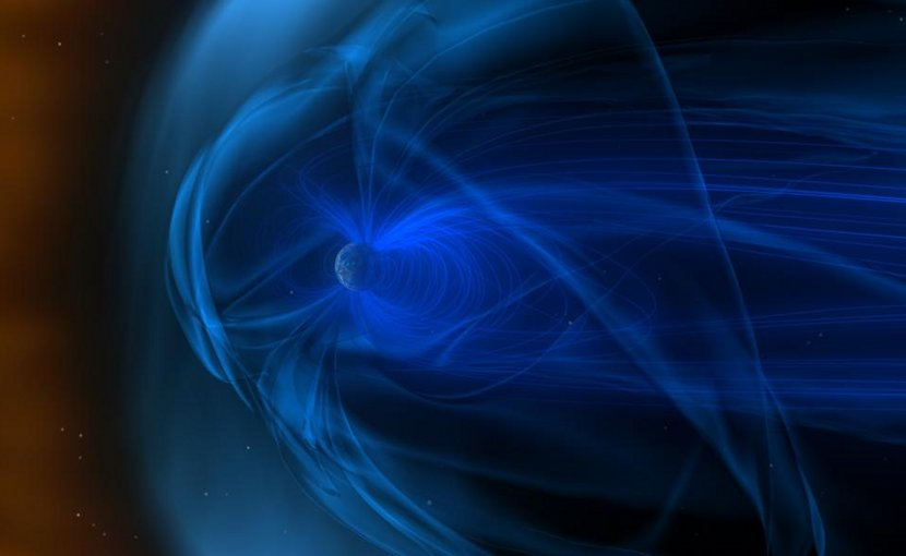 A giant magnetic field (swirling blue lines) surrounds Earth. As Earth travels through solar wind (orange area), its magnetic field creates a bow shock in front of itself (pale blue area). Credit NASA/Goddard Space Flight Center