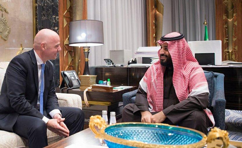 Saudi Arabia's Crown Prince Mohammad Bin Salman with FIFA President Gianni Infantino. Photo Credit: SPA