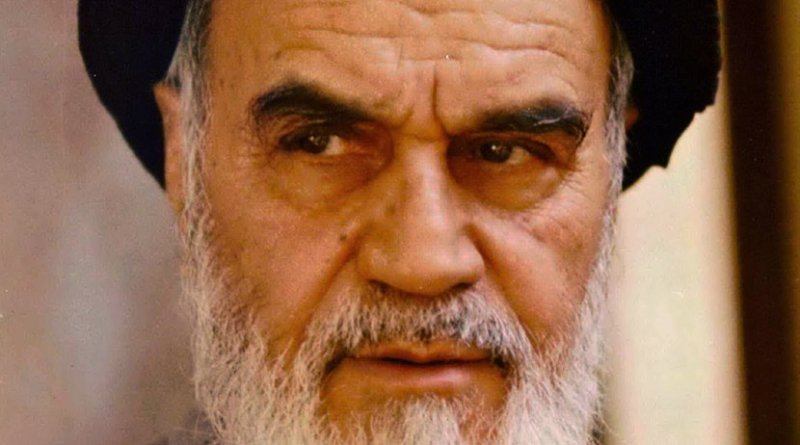 Photo of Iran's Ruhollah Khomeini by Mohammad Sayyad, Wikimedia Commons.