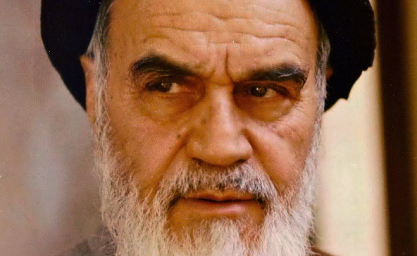 Photo of Iran's Ruhollah Khomeini by Mohammad Sayyad, Wikimedia Commons.