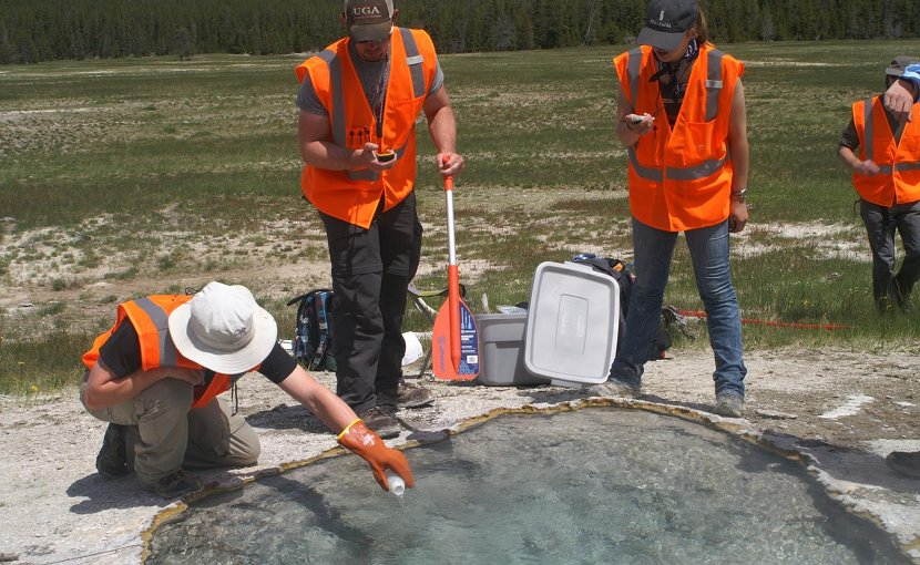 Washington State University researchers 'spike' a Yellowstone hot spring with deuterium, a stable isotope, to calculate water and heat flowing out of the springs and estimate how fast magma is recharging beneath the Yellowstone supervolcano. The material had no environmental impact and was done with a permit from the National Park Service. Credit Washington State University