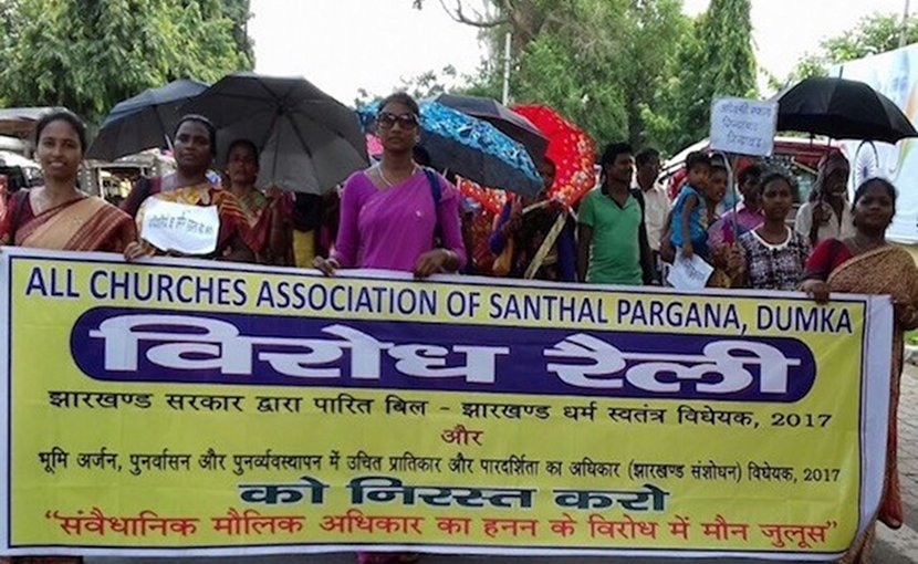 A church-led group joins an August 2017 gathering in Ranchi, state capital of Jharkhand, to protest a government move to amend a law that protects farmland. (Photo supplied)