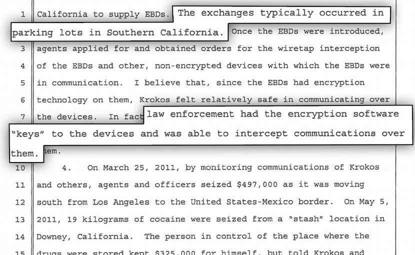 Excerpt from 2014 court document describing US Drug Enforcement Administration's undercover distribution of compromised phones. © 2018 Human Rights Watch