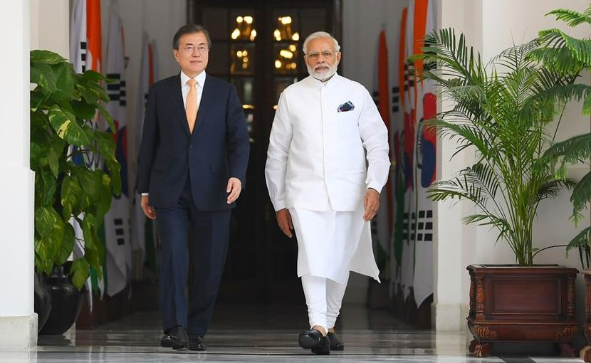 The Prime Minister, Shri Narendra Modi with the President of the Republic of South Korea, Mr. Moon Jae-in, at Hyderabad House, in New Delhi on July 10, 2018. Photo Credit: India PM Office.