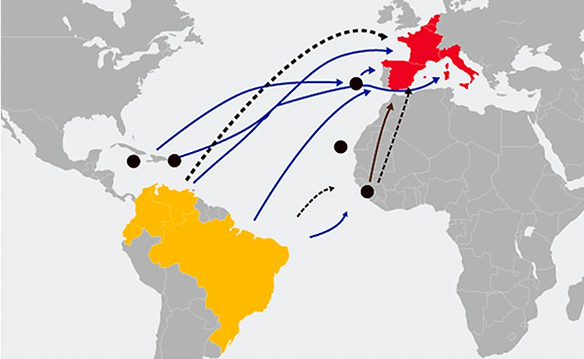Main cocaine trafficking routes to Europe. Map: InSight Crime (CC BY-NC 3.0)