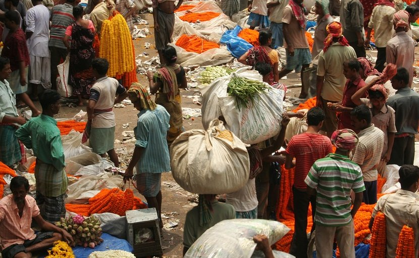 Scene in Kolkata, India market.