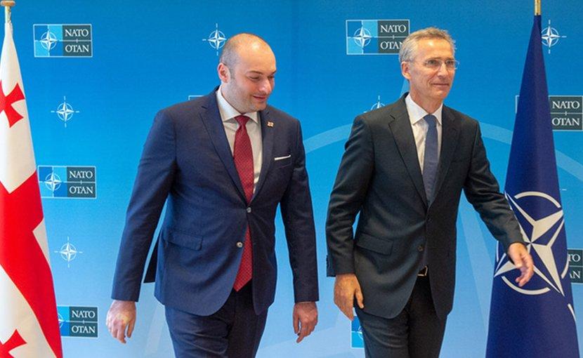 NATO Secretary General Jens Stoltenberg and the Prime Minister of Georgia, Mamuka Bakhtadze. Photo Credit: NATO.