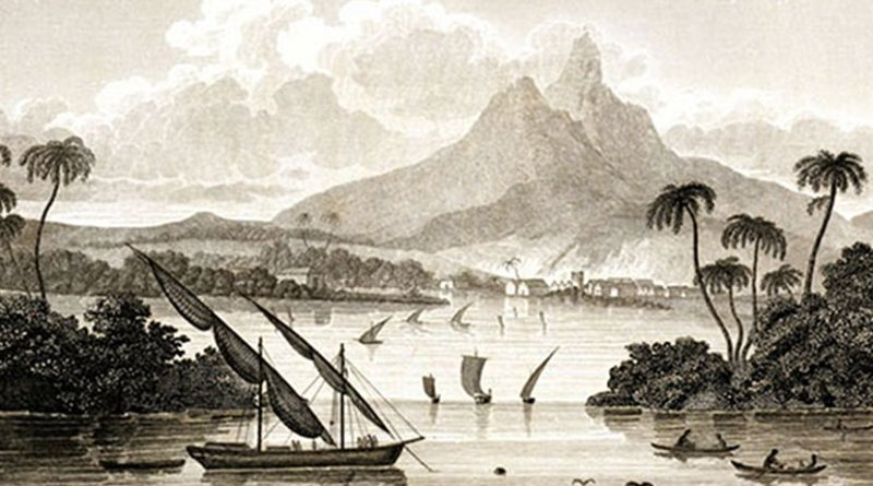 """An engraving from Sketch of the Mosquito Shore, purporting to depict the """"port of Black River in the Territory of Poyais"""". Credit: homas Strangeways (pseudonym), Wikimedia Commons."""
