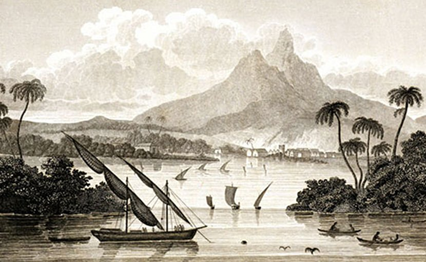 "An engraving from Sketch of the Mosquito Shore, purporting to depict the ""port of Black River in the Territory of Poyais"". Credit: homas Strangeways (pseudonym), Wikimedia Commons."