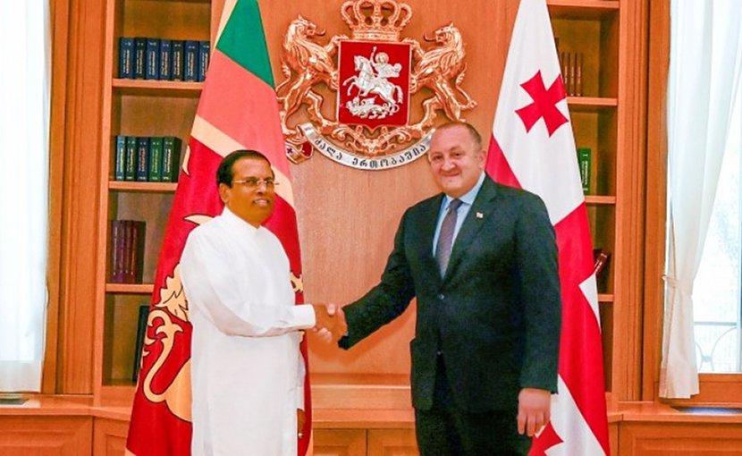Sri Lanka's President Maithripala Sirisena meets with the President of Georgia Giorgi Margvelashvili. Photo Credit: Sri Lanka government.