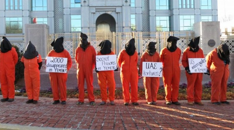 Witness Against Torture activists protest at the Embassy of the United Arab Emirates on January 9, 2018. Photo Credit: Witness Against Torture.