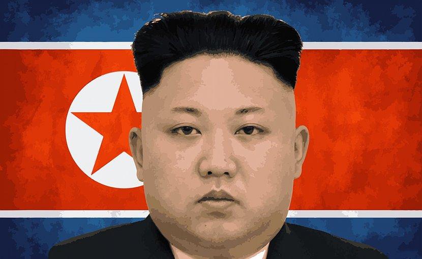 North Korea's flag and Kim Jong-Un.