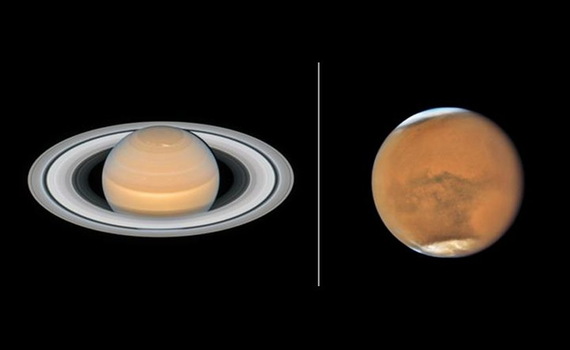 This image shows the recent observations of the planets Mars and Saturn made with the NASA/ESA Hubble Space Telescope. The observations of both objects were made in June and July 2018 and show the planets close to their opposition. Credit Saturn: NASA, ESA, A. Simon (GSFC) and the OPAL Team, and J. DePasquale (STScI); Mars: NASA, ESA, and STScI