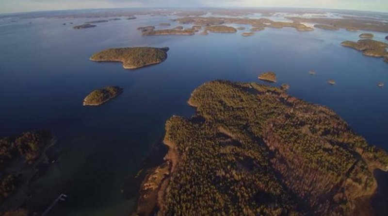 This is an aerial view of the Archipelago Sea (to the west, study location in the background). This shallow coastal area in the northern Baltic Sea is characterised by a mosaic of thousands of islands, comprising a remarkably diverse environment both geologically and biologically. Credit Kari Mattila, The Archipelago Research Institute