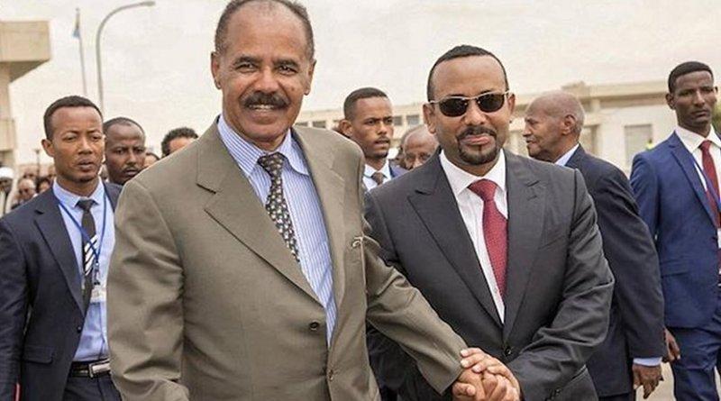 Eritrean Prime Minister Afwerki (left) and his Ethiopian counterpart Ahmed in Asmara. Credit: africanews via IDN.