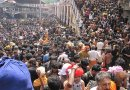 Pilgrims gathering in Sabarimala, India. Photo Credit: Avsnarayan, Wikipedia Commons.