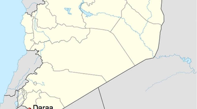 Location of Daraa in Syria. Credit: Wikipedia Commons.