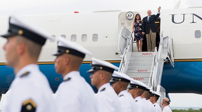 Vice President Mike Pence and Mrs. Karen Pence arrive in Colombia   August 13, 2017 (Official White House photo by Myles D. Cullen)