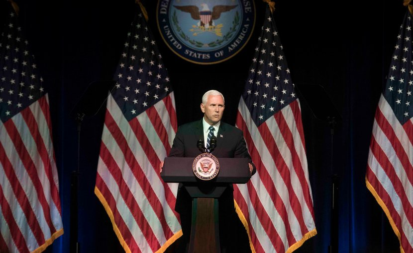 Vice President Mike Pence announces the creation of the United States Space Force to service members during a briefing at the Pentagon. DoD photo by Air Force Tech. Sgt. Vernon Young Jr.