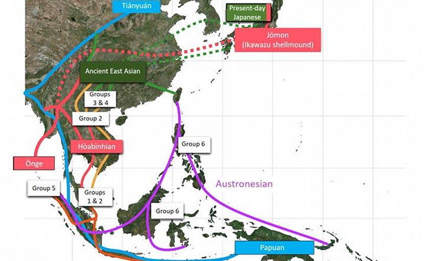 Model for migration routes into Southeast Asia uncovered by genomic data of prehistoric skeletons. Credit Kanazawa University