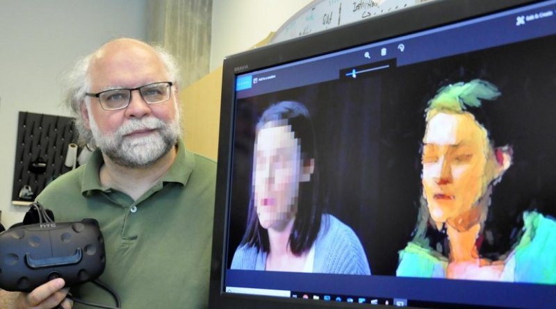 Simon Fraser University professor Steve DiPaola demonstrates his AI method for news-reporting anonymity. Credit SFU