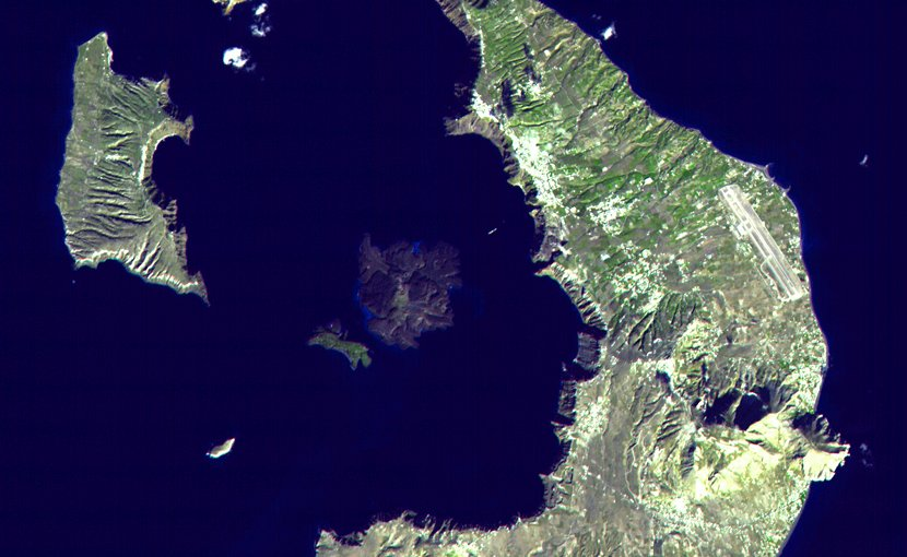 Thera volcano, Santorini island, Greece - EOS photo NASA, public domain, Wikipedia Commons.