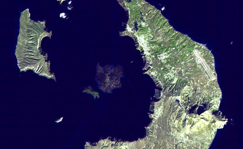 Thera volcano, Santorini island, Greece - EOS photo NASA, public domain, Wikipedia Commons.