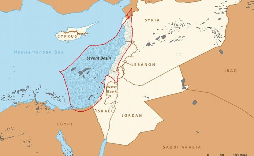 Boundaries of the Levant Basin, or Levantine Basin (US EIA)