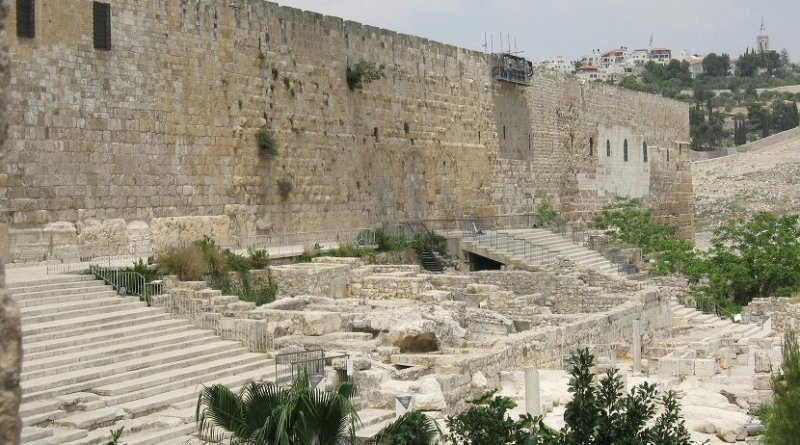 Eastern portion of the Southern Wall of the Temple Mount in Jerusalem. Photo Credit: Oren Rozen, Wikipedia Commons.