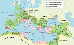 The Roman Empire at its farthest extent in AD 117. Source: Wikipedia Commons.
