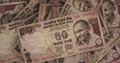 Indian rupee banknotes.