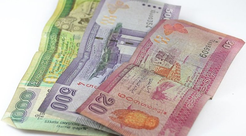 Sri Lankan rupee banknotes.