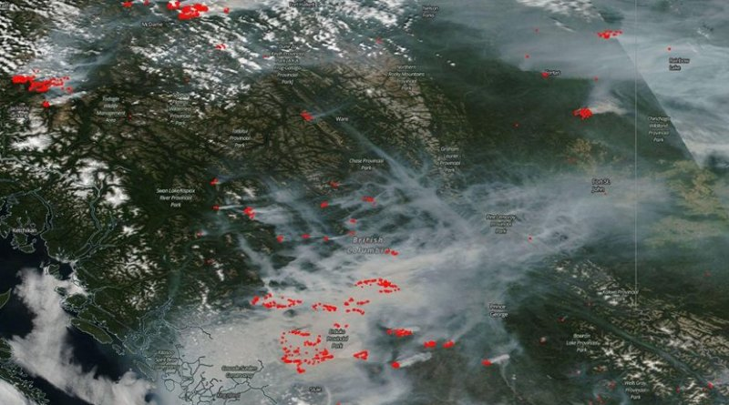 """British Columbia is on fire. In this Canadian province 56 wildfires """"of note"""" are active and continuing to blow smoke into the skies overhead. Credit Image Courtesy: NASA Worldview, Earth Observing System Data and Information System (EOSDIS)."""
