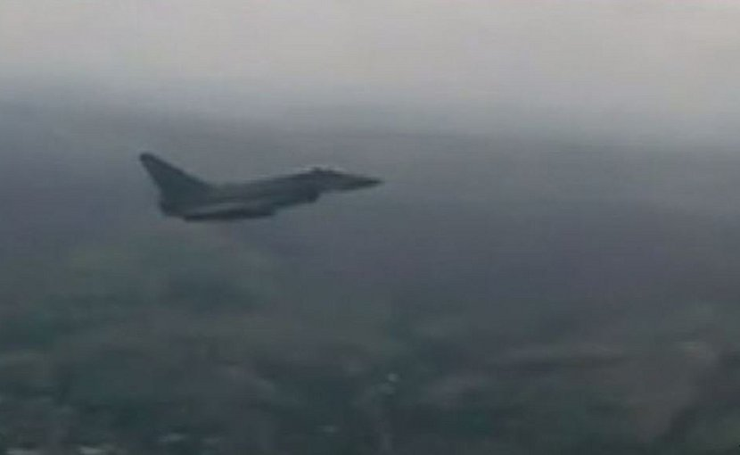 British Typhoon jets were launched from an air base near the Romanian city of Constanta for the second time in three days. Source: YouTube