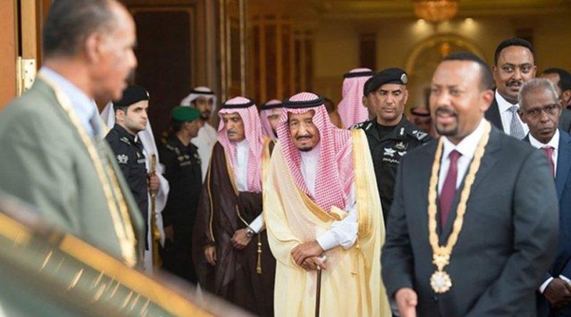 Saudi Arabia's King Salman, Eritrean President Isaias Afwerki and Ethiopia's Prime Minister Abiy Ahmed in Jeddah. (SPA)