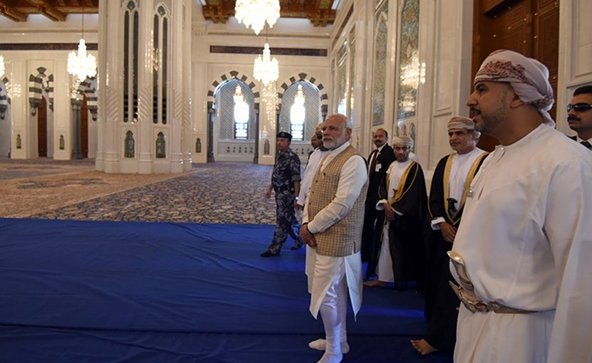 India's Prime Minister Shri Narendra Modi visiting the Sultan Qaboos Grand Mosque, which is the biggest mosque in Oman, in Muscat. Photo Credit: India PM Office.