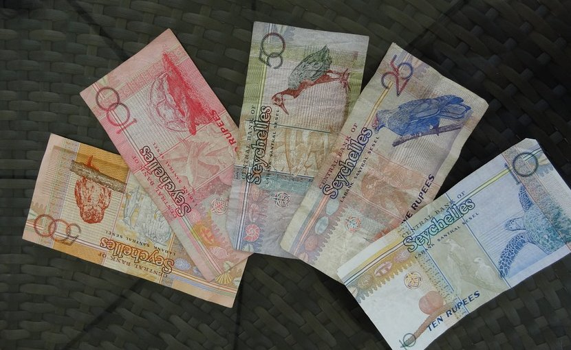Seychelles rupee banknotes.