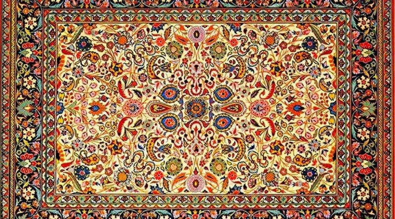 "Typical traditional Tabriz style ""Afshan carpet"", Azerbaijan Carpet Museum. Photo Credit: Urek Meniashvili, Wikipedia Commons."