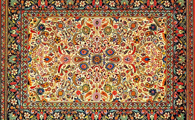 "Typical traditional Tabriz style ""Afshan carpet"", Azerbaijan Carpet Museum. Photo Credit: Urek Meniashvili, Wikipedia Commons."
