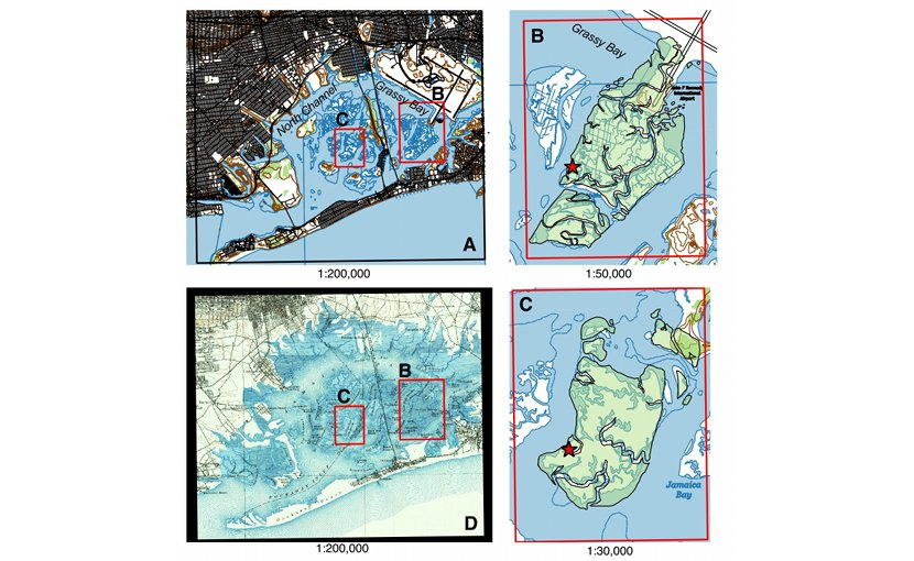 Maps of the Jamaica Bay study areas. B and C show the extent of two regions--the Jo Co and Yellow Bar marshes, respectively--in 1897 (green overlay) versus 2016 (white). Credit Peteet et al.