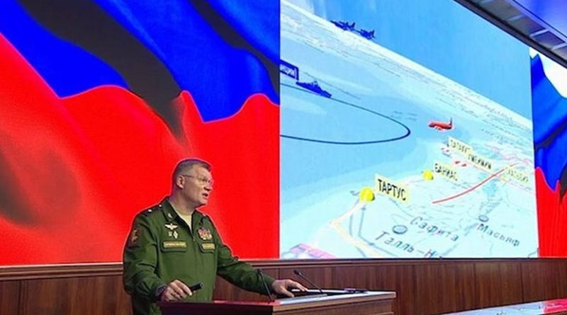 Russian defence ministry spokesperson Major-General Igor Konashenkov presents the results of an investigation into the shooting down on September 17 of a Russian Ilyushin Il-20 electronic signals intelligence aircraft. Credit: Russian MoD/YouTube