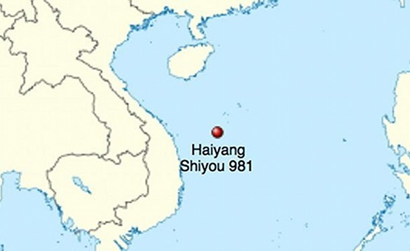 Location of the Haiyang Shiyou 981 oil platform in China - Vietnam standoff.