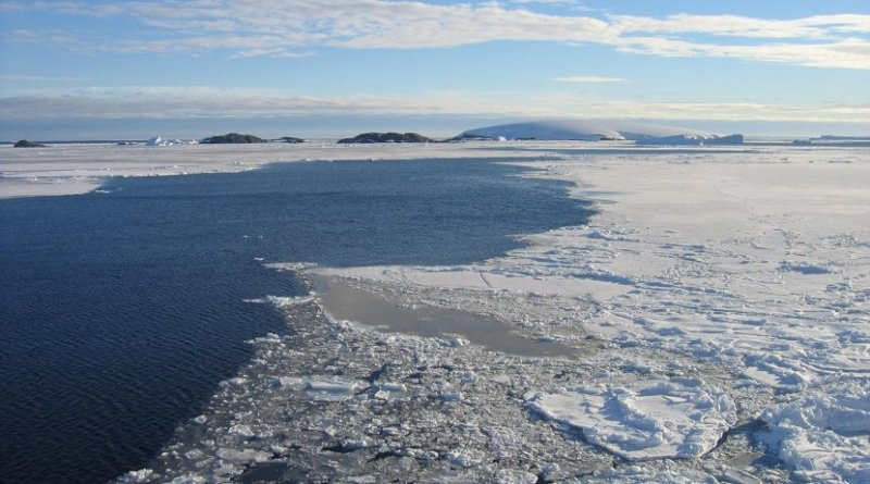 Sea ice marginal zone in front of West Antarctic ice sheet. Polynias, ice free corridors between the sea ice and land based ice sheets, are common in Antarctica today. Credit Photo: M. Forwick