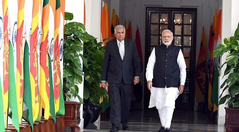 Sri Lanka's Prime Minister Ranil Wickremesinghe with India's Prime Minister Narendra Modi. Photo Credit: India PM Office
