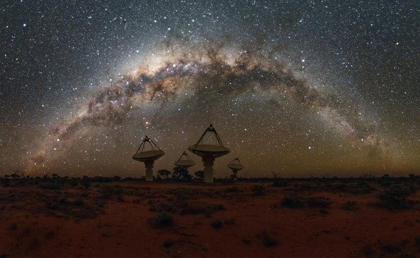 These are antennas of CSIRO's Australian SKA Pathfinder with the Milky Way overhead. Credit Alex Cherney/CSIRO