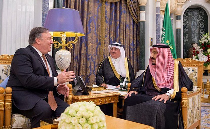 US Secretary of State Mike Pompeo met with King Salman in the Saudi capital. (SPA)