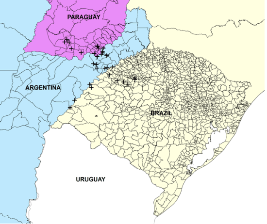 Note: The map shows the exact location of the Guarani Jesuit Missions, along with municipal level boundaries for the states of Corrientes and Misiones (Argentina), Itapua and Misiones (Paraguay) and Rio Grande do Sul (Brazil), and state boundaries for other states in Argentina, Brazil and Paraguay.