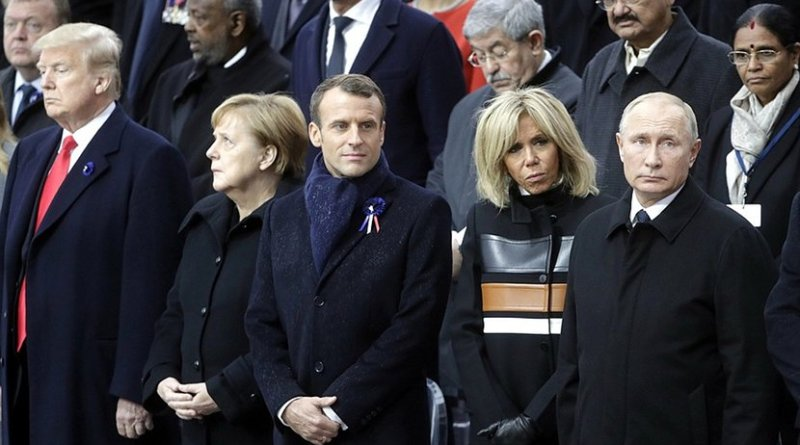 Russia's Vladimir Putin with President of the United States of America Donald Trump and First Lady Melania Trump, Federal Chancellor of Germany Angela Merkel, President of the French Republic Emmanuel Macron and his wife Brigitte Macron at the commemorative ceremony marking the centenary of Armistice Day. Photo Credit: Kremlin.ru