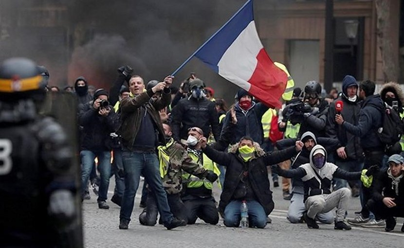 Yellow Vest protestors in France. Photo Credit: Tasnim News Agency
