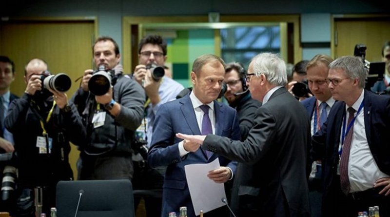 European Council President, Donald Tusks, listens to European Commission chief, Jean-Claude Juncker on Friday, before the summit started. [Council]